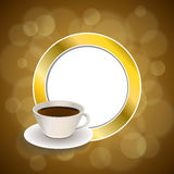 Abstract background coffee cup brown gold circle frame illustration. Vector Stock Photography