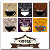 Abstract background coffee. Coffee label. Retro vintage illustration.Design abstract coffee.Abstract background coffee.A cup of coffee and aromatic scent Stock Photography