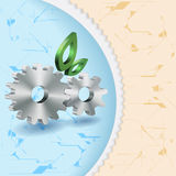 Abstract Background With Cog Wheels. A gearing of cog wheels and green leafs improved stylistically on the fond fulfilled with technical symbols mean the effects Royalty Free Stock Photo