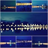 Abstract Background Collage of Beautiful Defocused City Lights, Blurred View of City Skyline and Reflection at Sunset Royalty Free Stock Images