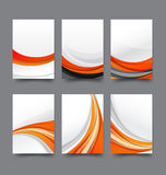 Abstract background collection of curve wave orange and white ba Stock Image