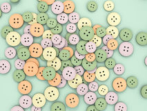 Abstract background from a collection of old buttons. 3D renderi Stock Photos