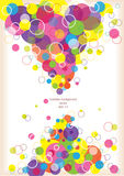 Abstract background with color circles. Modern creative page layout with dimensional bright bubbles royalty free illustration