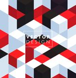 Abstract background with color cubes and grid. Abstract background with red and black color cubes for design brochure, website, flyer. EPS10 royalty free illustration