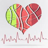 Abstract background with color heart. Abstract background with color strip heart - vector illustration Stock Photography