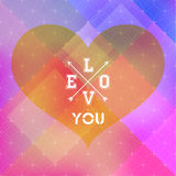 Abstract background of color patches with geometric texture. With a heart and an inscription love you, crossed arrows, retro design Royalty Free Stock Image