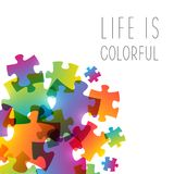 Abstract background with color puzzle. Elements royalty free illustration