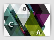Abstract background with color triangles, annual report print backdrop. Vector design for workflow layout, diagram, number options or web design Stock Images