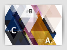 Abstract background with color triangles, annual report print backdrop. Vector design for workflow layout, diagram, number options or web design Royalty Free Stock Photo