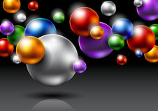 Abstract background with colored balls. Abstract background with colorful balls and glowing Stock Photography
