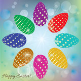 Abstract background with colored eggs for Easter Stock Images