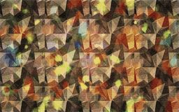 Abstract background of colored mosaic, chaotically arranged elements of geometric figures of triangular shape.  Stock Photos