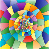 Abstract background with colored mosaic spiral. Abstract mosaic image, colorful tiles arranged in a spiral royalty free illustration