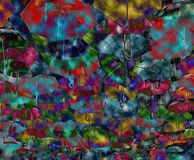 Abstract background with colored and open umbrellas. The Alba Iulia street decorated with colorful umbrellas in Timisoara, Romania. Dramatic background clouds Stock Photography