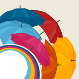 Abstract background with colored umbrellas for. Greeting card vector illustration