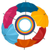 Abstract background with colored umbrellas for. Greeting card stock illustration
