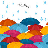 Abstract background with colored umbrellas and. Rain drops Royalty Free Stock Image