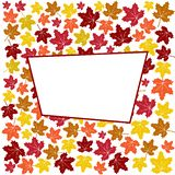 Abstract background with colorful autumn maple leaves and white frame. Vector illustration stock illustration