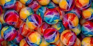 Abstract background of colorful balls. Background of colorful balls. Abstract color holiday 3D rendering illustration. Spheres painted with watercolor paint Stock Photo