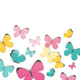 Abstract Background with Colorful Butterflies Royalty Free Stock Photos