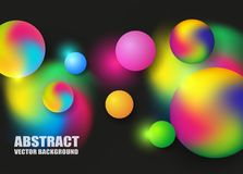 Abstract background with colorful circles with light glowing on black background. Vector illustration eps 10 royalty free illustration