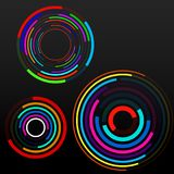 Abstract background of colorful circles with lines, technology backdrop. Geometric shapes Royalty Free Stock Photos