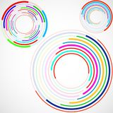 Abstract background of colorful circles with lines, technology backdrop. Geometric shapes Royalty Free Stock Images