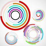 Abstract background of colorful circles with lines, technology backdrop. Geometric shapes Royalty Free Stock Image