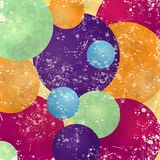 Abstract background with colorful circles and vintage texture Stock Photography