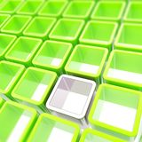 Abstract background of colorful cube cell composition. Colorful glossy green and chrome metal cube cell copyspace composition as abstract background Stock Images