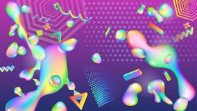 Abstract background with colorful drops. Abstract background of colorful drops of fluids and geometric shapes. Modern futuristic design stock illustration