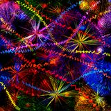 Abstract background with colorful fireworks splash and garlands Royalty Free Stock Photo