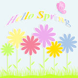 Abstract  background with colorful flowers. Hello spring Royalty Free Stock Photos