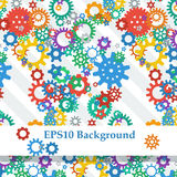 Abstract Background with Colorful Gears. On the diagonal bands Vector Illustration