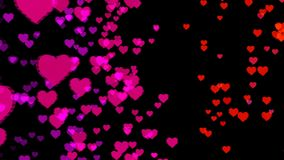 Abstract background with colorful hearts. Seamless loop stock video footage