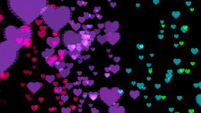 Abstract background with colorful hearts. Seamless loop stock footage