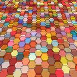 Abstract background with colorful hex polygons. Abstract background with colorful red hex polygons Royalty Free Stock Photos