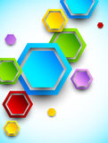 Abstract background with colorful hexagons. Bright illustration royalty free illustration