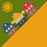 Abstract Background With Colorful Houses And Fields. Abstract Background With Colorful Houses, Sun And Fields stock illustration