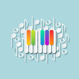 Abstract background with colorful keys of pianoforte. Musical theme wallpaper Stock Photo