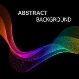 Abstract background with colorful line wave on black Stock Photo