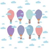 Cartoon children illustration - balloons and animals. Vector illustration. stock illustration
