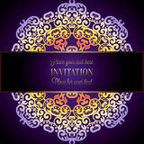 Abstract background with a colorful mandala frame, damask floral wallpaper ornaments, invitation card in purple and lilac shades.  Royalty Free Stock Photos