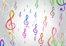Abstract Background with Colorful. Music notes Stock Photo