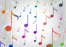 Abstract Background with Colorful. Music notes Stock Photos