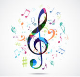 Abstract background Colorful music notes Royalty Free Stock Photos