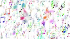 Abstract background with colorful music notes. Seamless loop. Abstract animated background with moving colorful music notes. Seamless loop stock video