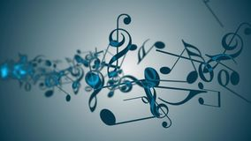 Abstract background with colorful music notes. Seamless loop