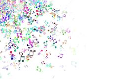 Abstract background with colorful music notes. Seamless loop stock video