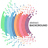 Abstract background with colorful rainbow lines and flying pieces. Colored circles with place for your text  on a white background Stock Photography